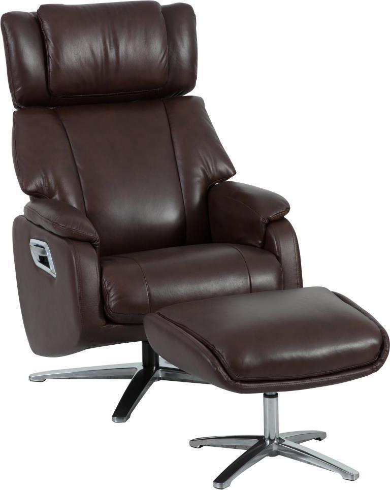 Кресло реклайнер DM-02009 с подставкой для ног кожа каштан TM Bellini