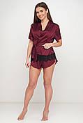 Женская одежда для дома и сна, шелковый пижамный комплект