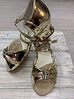 Спортивно бальна взуття, туфлі для дівчаток Б-2, золоті, фото 1