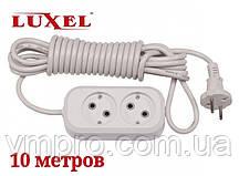 Удлинитель сетевой Luxel 10A, 2 розетки, удлинители электрические 10