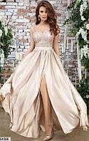 Платья выпускные кружевные,платье шелковое выпускное,макси платья в пол ,бежевое длинное платье
