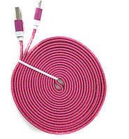Кабель USB-Micro плоский в оплетке 3м розовый
