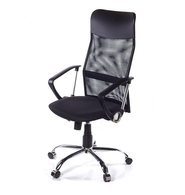 УЛЬТРА Хром + сетка черная кресло ХН 6101