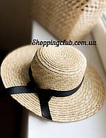 Соломенная шляпа женская  канотье с черным бантом с полями 8 см