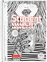 Тетрадь колледж-блок Brunnen А4 на спирали в клетку 80 листов 90 г/м2  обложка ZENart орнамент счастье