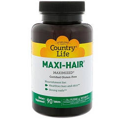 Витамины для волос,ногтей,кожи  Maxi-Hair (90 табл.) Country Life