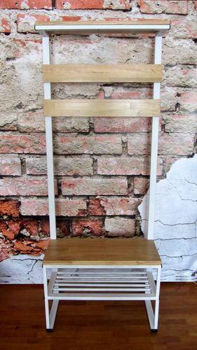 Вешалка в прихожую в стиле LOFT (Лофт) напольная с полками для обуви (белая)