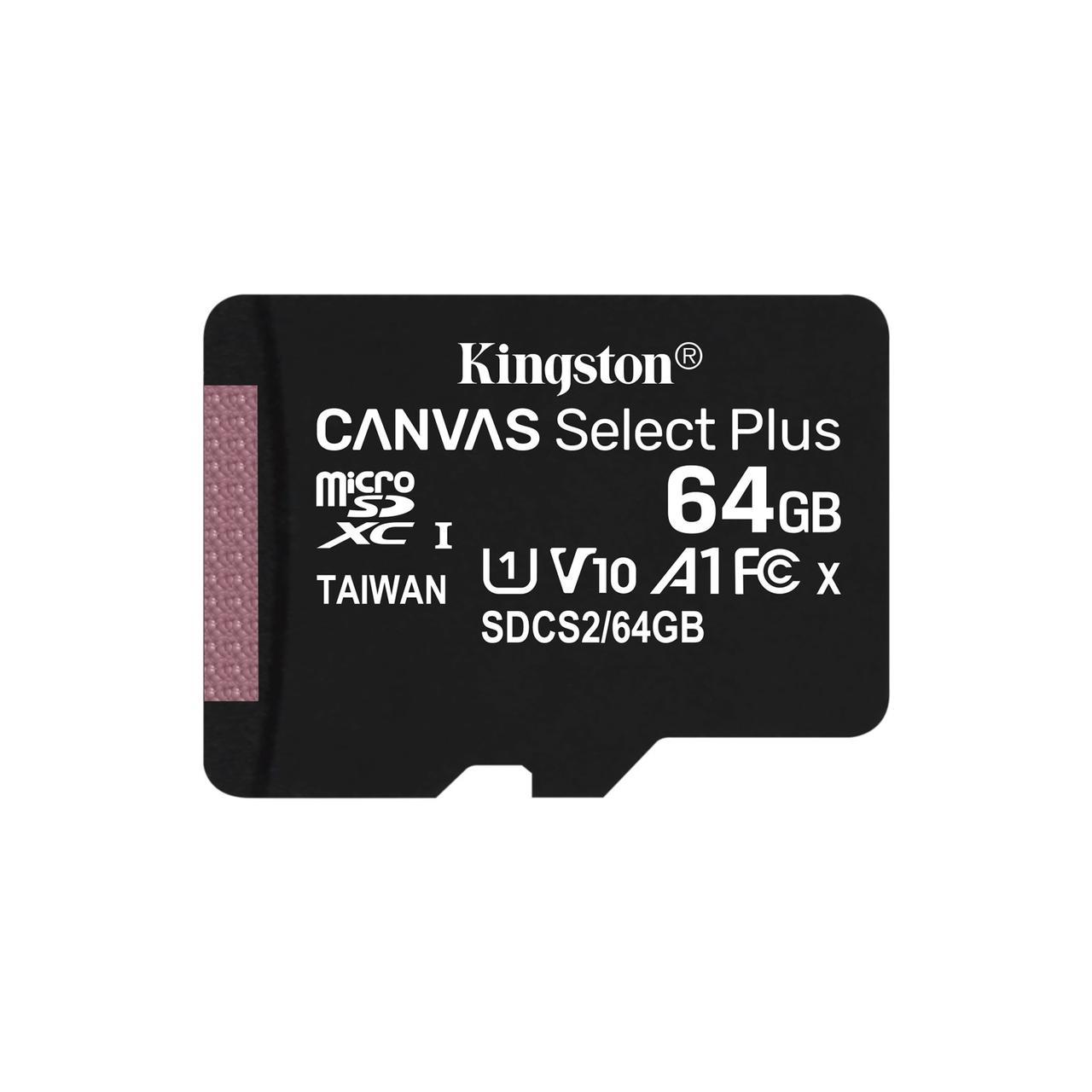Флешка microSDXC 64GB Kingston Canvas Select Plus Class 10 UHS-I U1 V10 А1 (SDCS2 / 64GBSP)