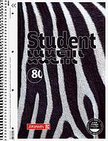 Тетрадь колледж-блок Brunnen А4 на спирали в клетку 80 листов 90 г/м2  обложка зебра флок