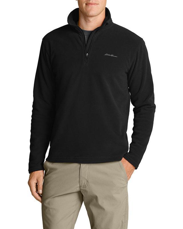 Eddie Bauer Men's Quest 150 Fleece 1/4-Zip Pullover 0675 Medium, Чорний