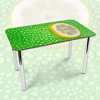 Виниловая наклейка на стол Лимон и капли Росы ламинированная пленка наклейки на кухню, зеленый 600*1000 мм