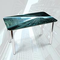 Виниловая наклейка на стол Взгляд снизу Город Здания декоративная пленка самоклеющаяся, серый 600*1000 мм