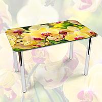 Наклейка на стол Желтые пышные Орхидеи, самоклеющаяся пленка с фотопечатью, цветы, желтый 600*1000 мм
