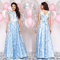 """Атласне блакитне плаття максі вечірнє """"Афіна"""", фото 1"""