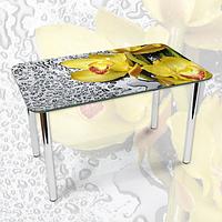 Наклейка на стол Желтые орхидеи и капли росы, интерьерные наклейки на кухню столы, цветы, желтый, 600*1000 мм