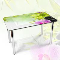 Наклейка на стол Орхидея и Зеленый бамбук, виниловая декоративная пленка с фотопечатью, зеленый, 600*1000 мм