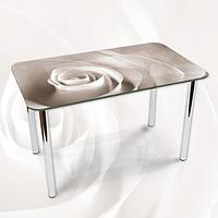 Наклейка на стол Белая Роза макро бутон, фотопечать пленка клейкая для мебели, цветы, белый, 600*1000 мм