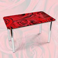 Наклейка на стол Алые розы Красные бутоны, Пленка самоклейка для мебели фотопечать, цветы, красный 600*1000 мм