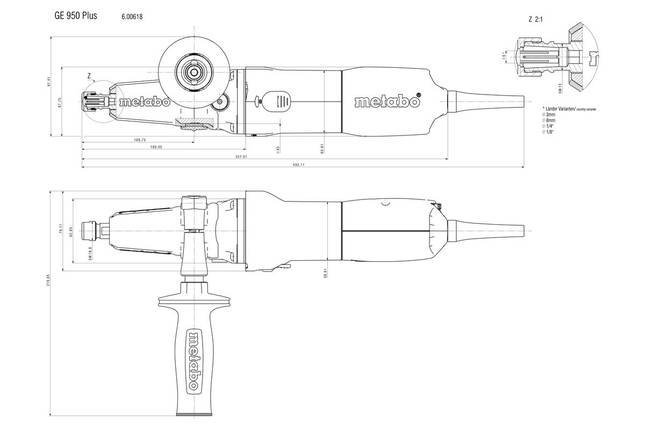 GE 950 G PLUS Прямошліфувальна машина 950Вт, коробка, фото 2