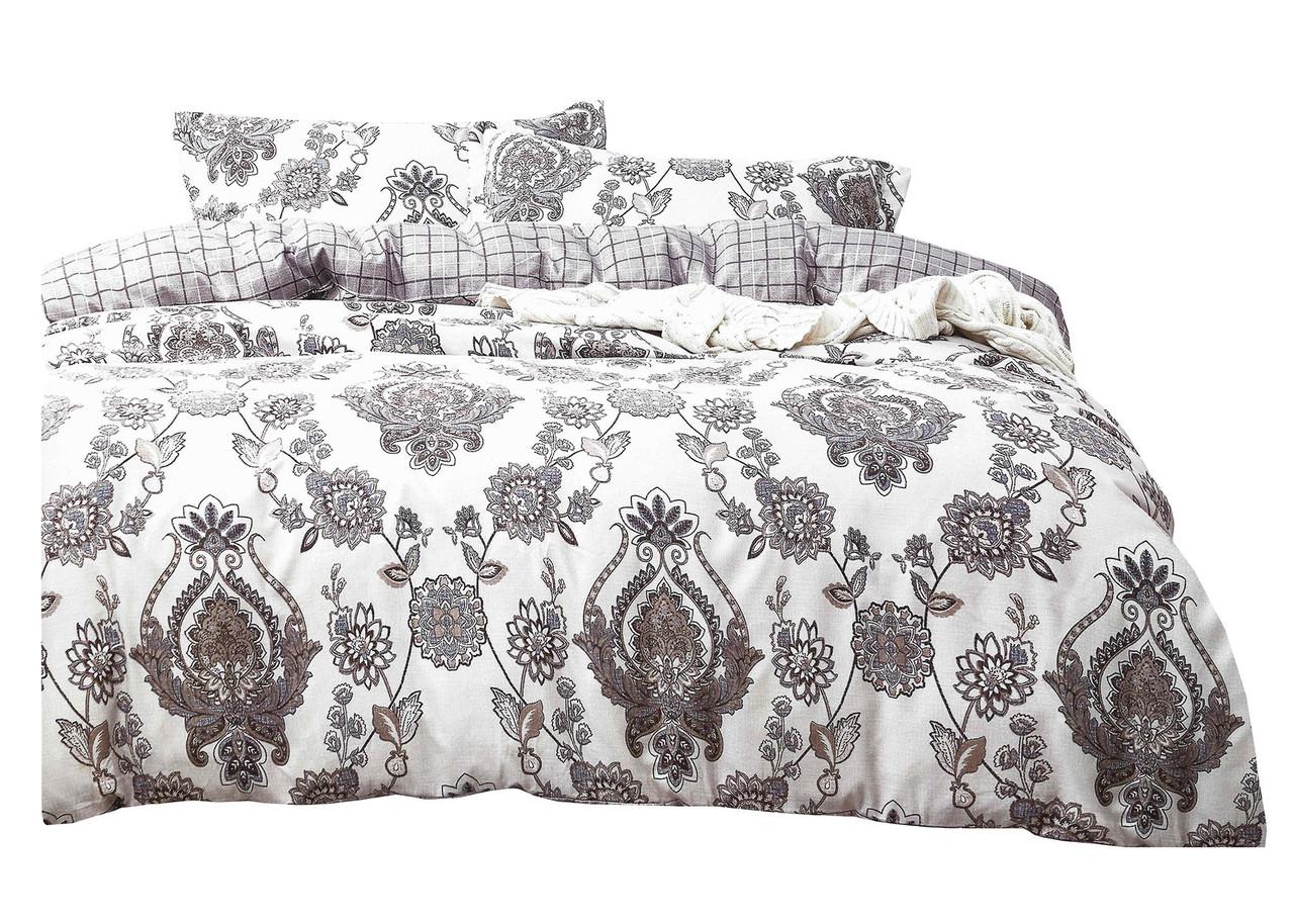 Комплект постельного белья Микроволокно HXDD-802 M&M 6840 Белый, Серый