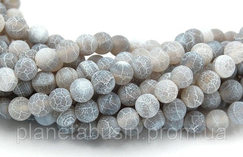 6 мм Серый морозный Агат, На нитях, бусины 6 мм, Круглые, Отверстие 1 мм, кол-во: 60-62 шт/нить