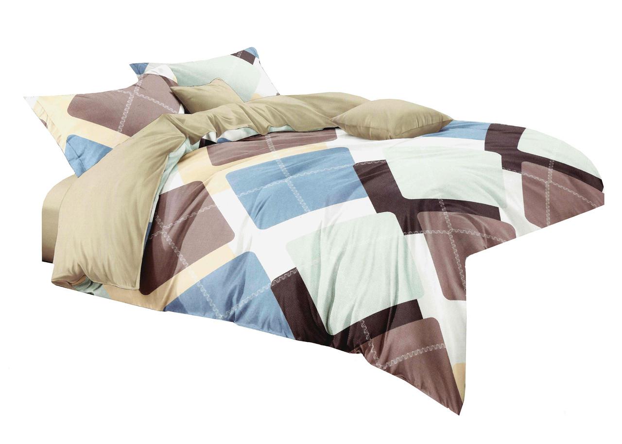 Комплект постельного белья Микроволокно HXDD-684 M&M 6857 Бежевый, Коричневый, Синий