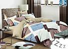 Комплект постельного белья Микроволокно HXDD-684 M&M 6857 Бежевый, Коричневый, Синий, фото 2