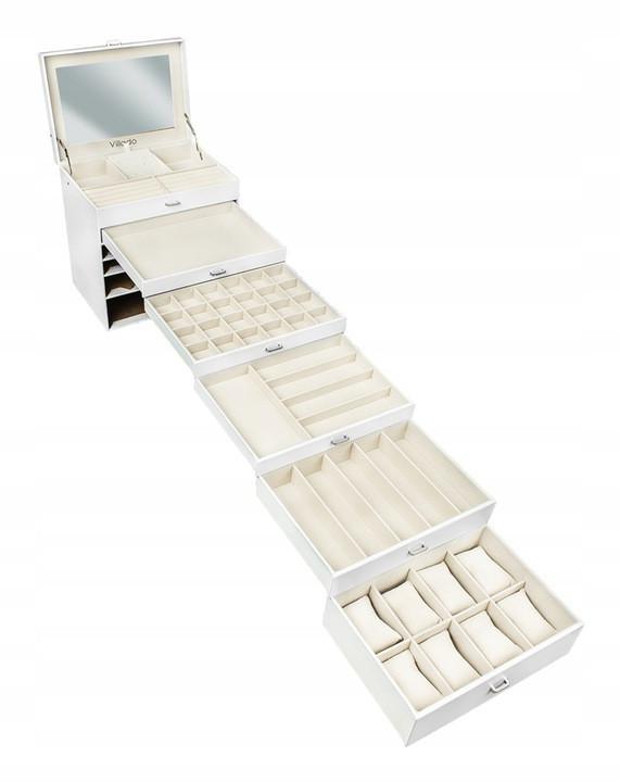Большая шкатулка-органайзер для украшений Vilado, белая, 6 уровней