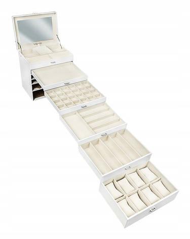 Большая шкатулка-органайзер для украшений Vilado, белая, 6 уровней, фото 2