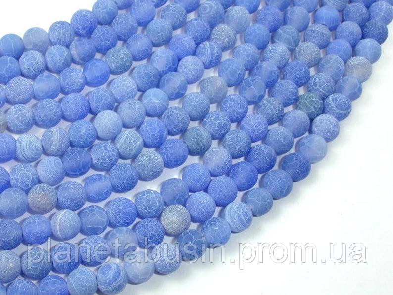 6 мм Голубой морозный Агат, На нитях, бусины 6 мм, Круглые, Отверстие 1 мм, кол-во: 60-62 шт/нить