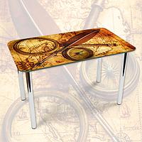 Виниловая наклейка на стол Старинная карта и компас, Самоклеющаяся пленка с фотопечатью, бежевый 600*1000 мм