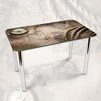 Виниловая наклейка на стол Пиратская карта и Компас, наклейки для декора столов и мебели, серый 600*1000 мм