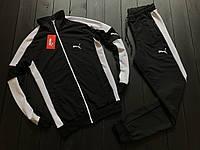 Мужской спортивный костюм Puma черный с белым, Материал: Двунить (85% хлопок 15% полиэстер)