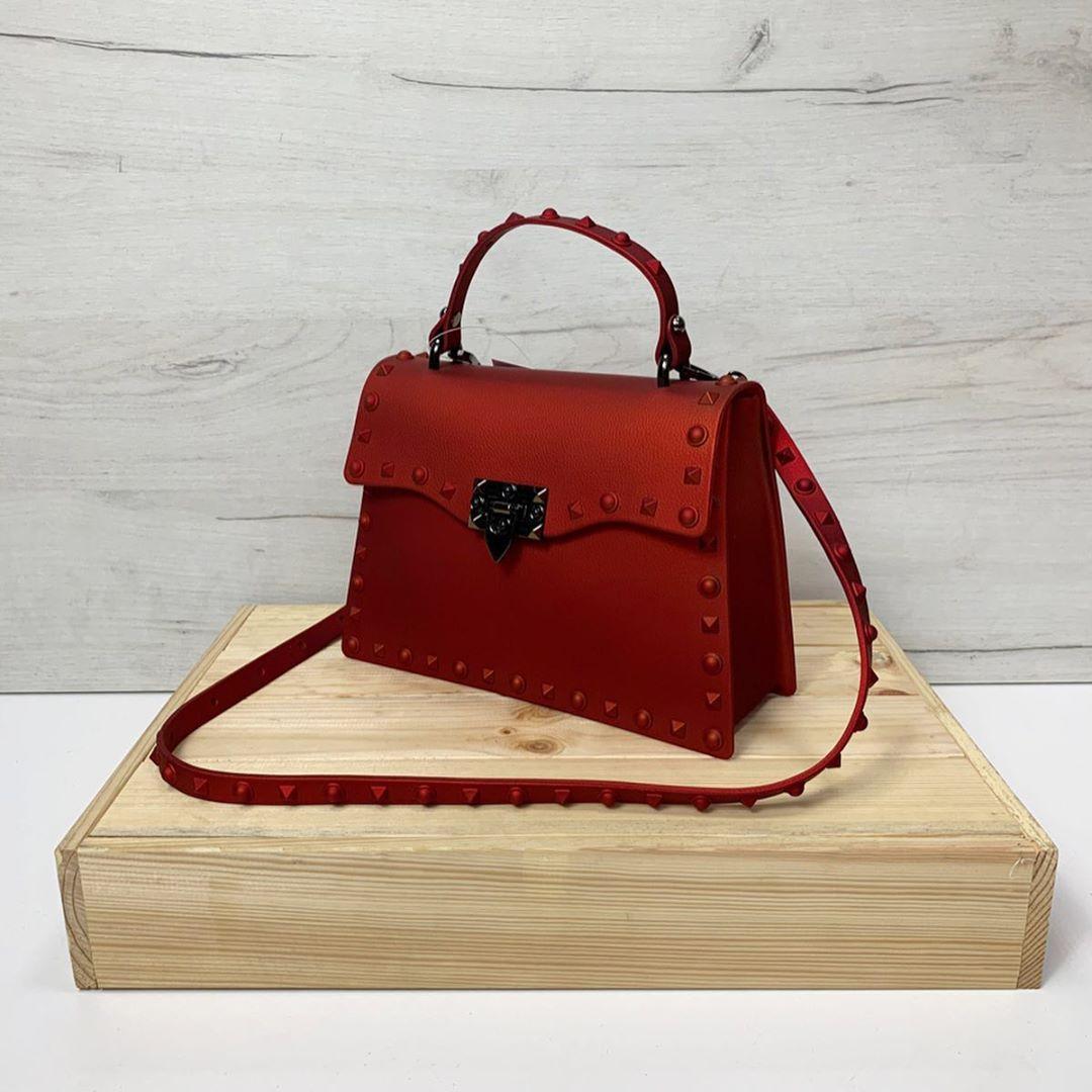 Силіконова сумка з шипами по контуру (0467) Червоний