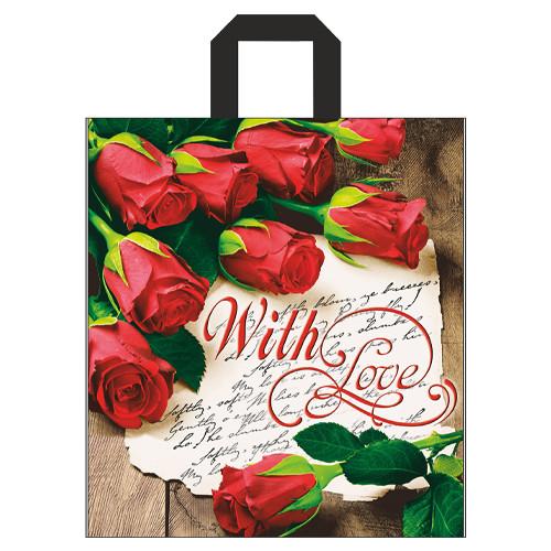 """Пакет петля """"Розы"""", 40х43 - 25шт."""