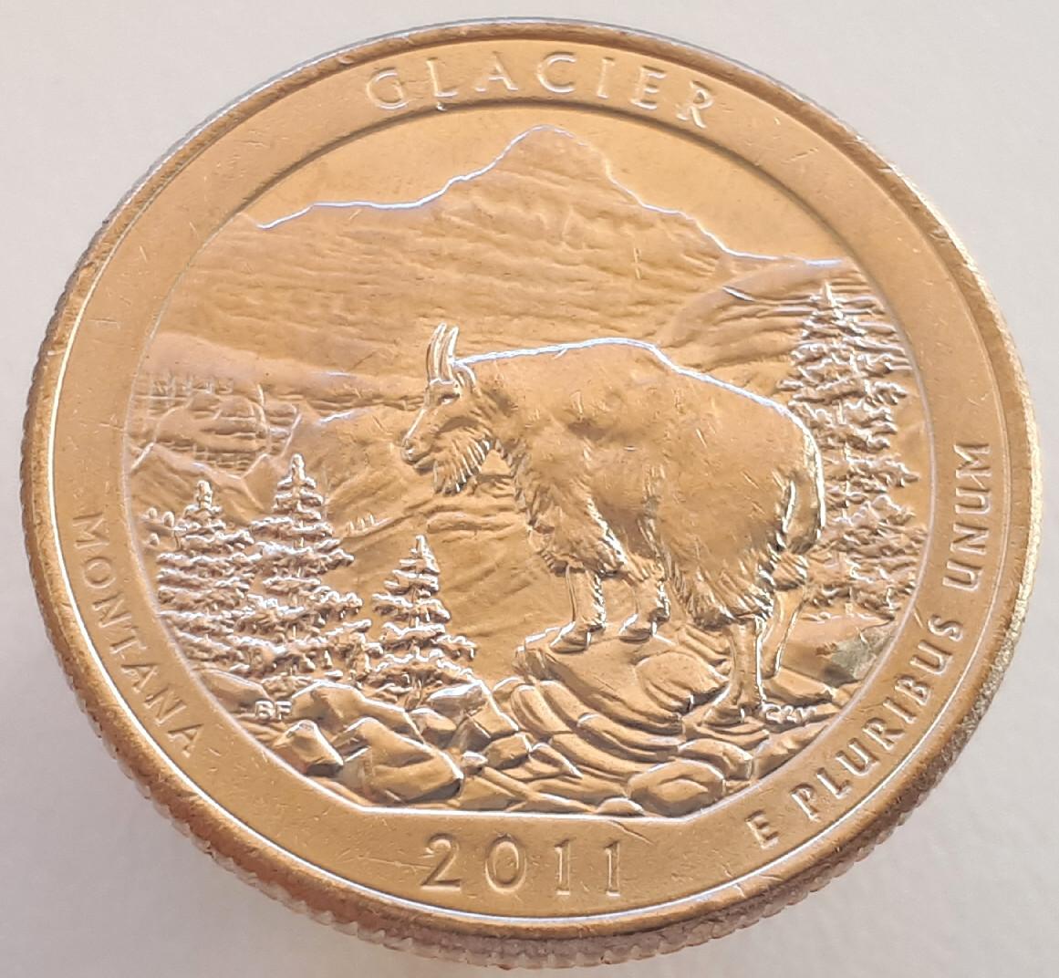 США 25 центов 2011 -Национальный парк Глейшер 7 парк D
