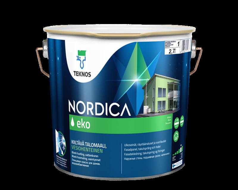 Краска акрилатная TEKNOS NORDICA ECO для древесины белая (база1) 2,7л