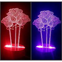Настольный светильник ночник лампа 3D Розы оригинальный светодиодный с цветной подсветкой