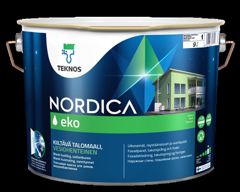 Краска акрилатная TEKNOS NORDICA ECO для древесины белая (база1) 9л