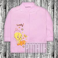 Хлопковая кофточка р 74 5 6 7 месяцев лёгкая ясельная трикотажная для малышей на кнопках КУЛИР 3172 Розовый Д