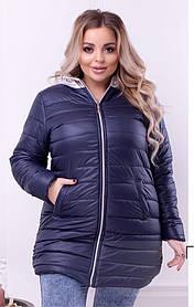 Пальто с капюшоном удлиненное темно-синее Большого размера