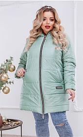 Пальто с капюшоном удлиненное Олива Большого размера