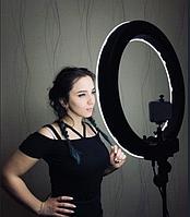 Кільцева лампа для б'юті майстрів, фотографів і блогерів (діаметр 36 см+ штатив 2.1 м + кріплення для телефону, фото 1
