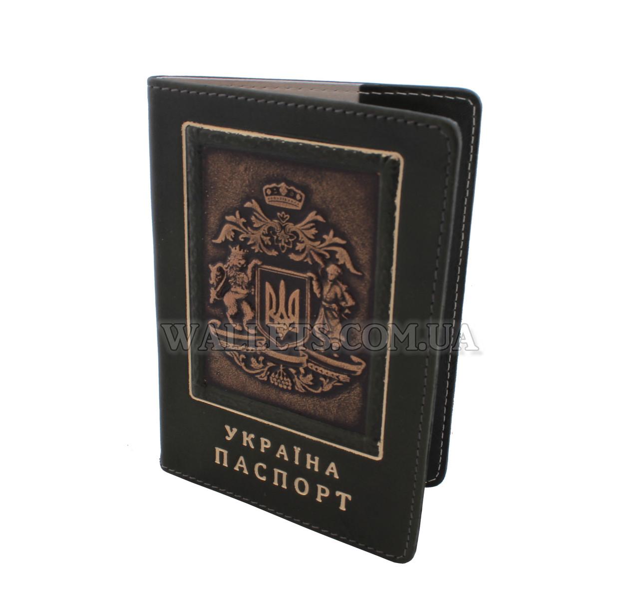 Шкіряна обкладинка для паспорта ST, темно-зелена