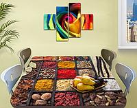 Виниловая наклейка на стол Восточные Специи ламинированная пленка наклейки на кухню, коричневый 600*1000 мм
