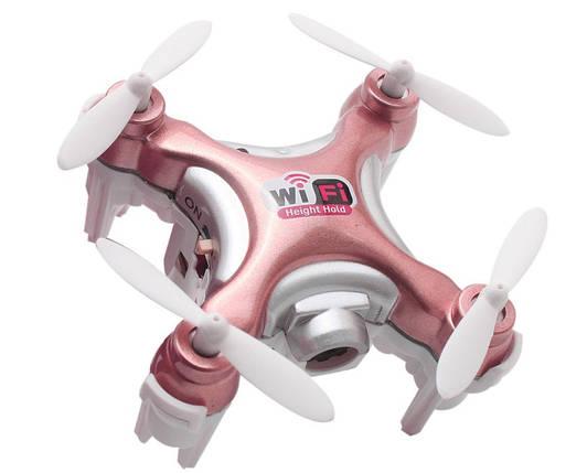 Квадрокоптер нано р/у Cheerson CX-10WD-TX с камерой Wi-Fi (розовый), фото 2