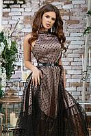 Вечернее женское стильное платье с фатиновой юбкой в горошек Разные цвета