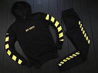 Мужской спортивный костюм Off White черный с желтым, Материал: Трикотаж