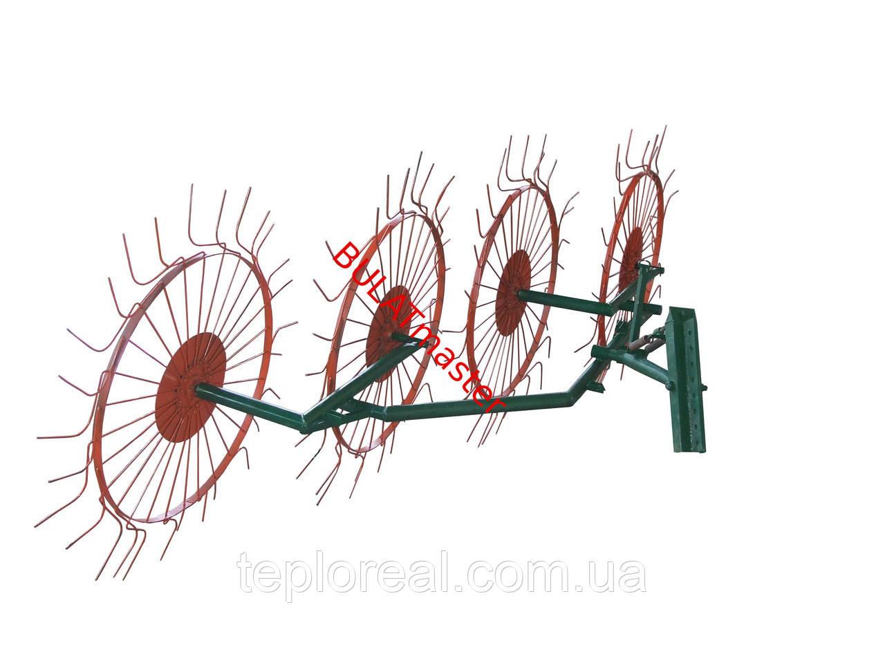 Грабли ворошилки для мотоблока навесные 4-х колесные (усиленная граблина 5мм)