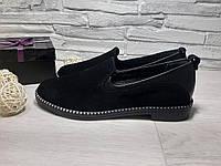 Туфли черные на низком ходу из натуральной замши